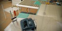 Inversión del chasis, cortando pieza para sujetar la PSU de un aluminio mas grueso.